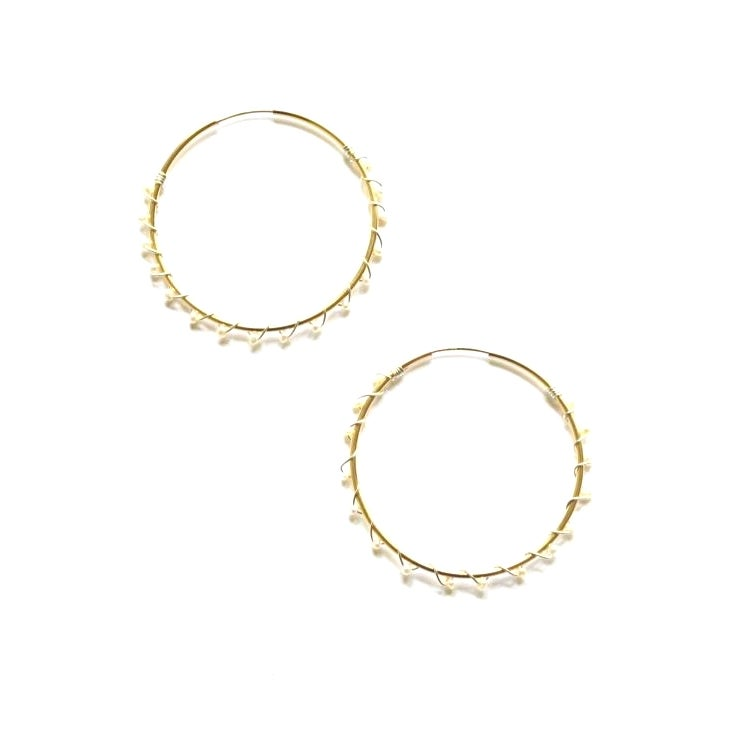 Image of Pearl hoop earrings mixed metal