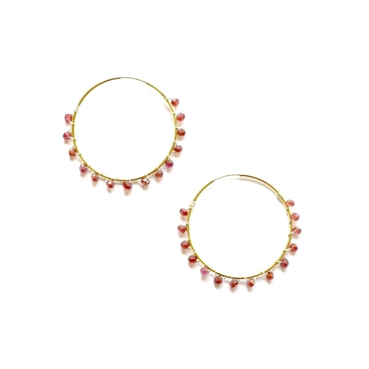 Image of Garnet hoop earrings mixed metal