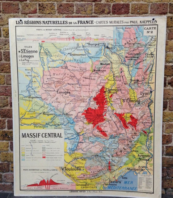 Image of 1960s Map of the Massif Central