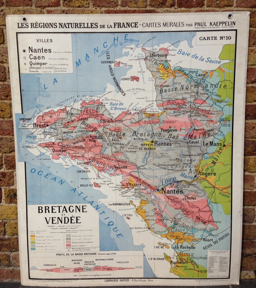 Image of 1960s Map of Brittany and Vendée