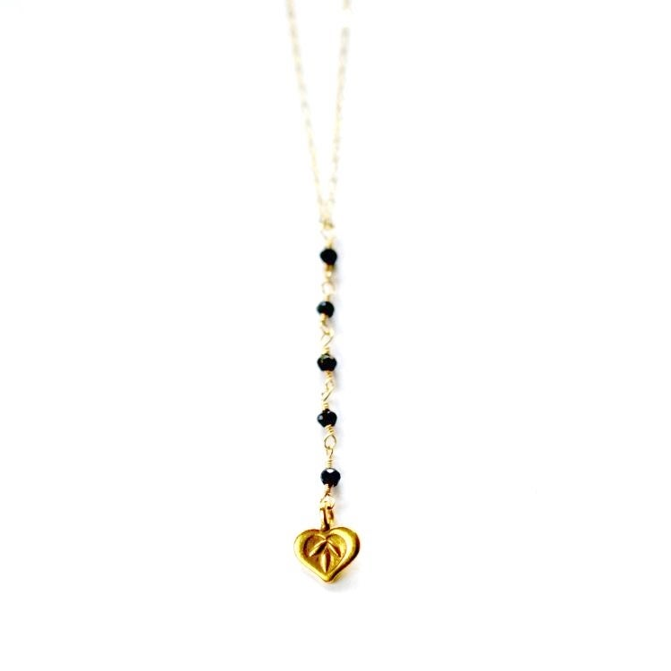 Image of Gold lotus heart beaded necklace