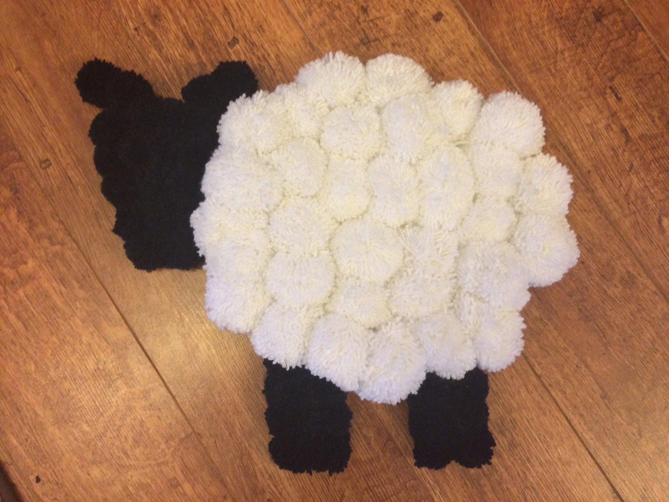 Image Of Pom Pom Sheep Rug   Made To Order