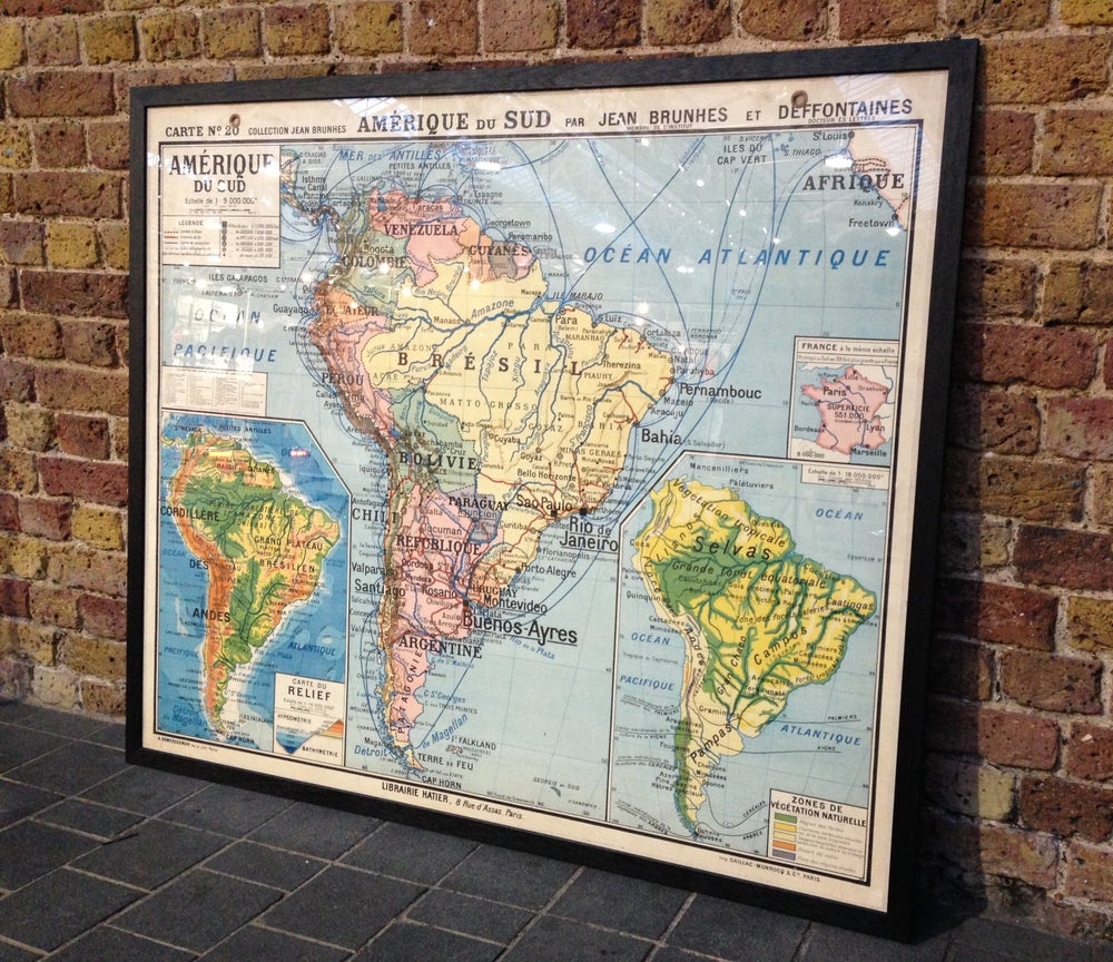 Image of 1950s Old School Map of South America