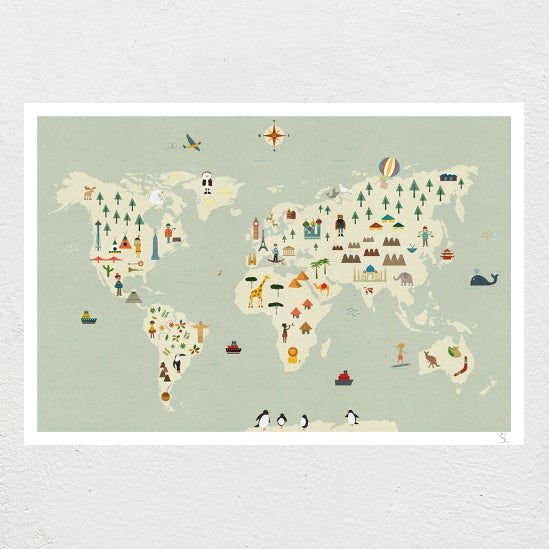 Image of World Map Print
