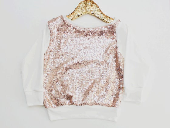 Image of Blush Pink Sequin Slouchy Top for Babies and Toddlers