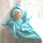 Image of Velour Blanket Doll - Light Blue/Light Skin