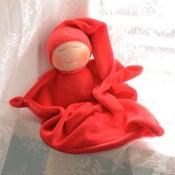 Image of Velour Blanket Doll - Cherry Red/Light Skin