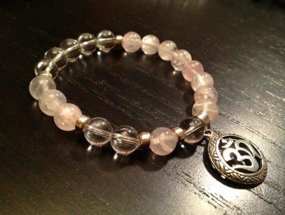 Image of Infinity OM Wrist Mala Rose & Clear Quartz