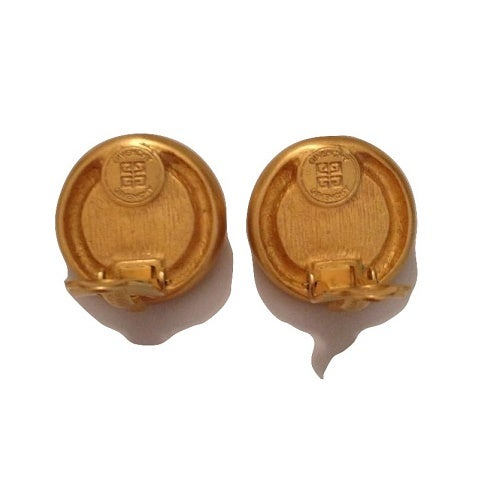 Image of SOLD OUT Givenchy Paris Earrings - Authentic Signed Brushed Gold Faux Pearl Logo Earrings
