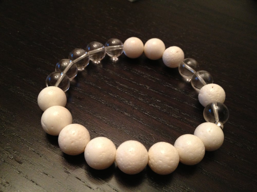 Image of Infinity White Coral & Quartz Crystal