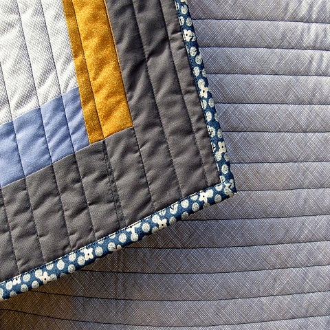 "Image of lap quilt, baby quilt - 48""x40"" - framed square design - shades of gray - modern quilts"