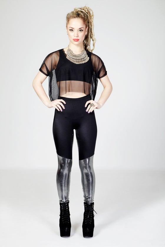 Image of KAI Leggings in BLACK/METALLIC SILVER