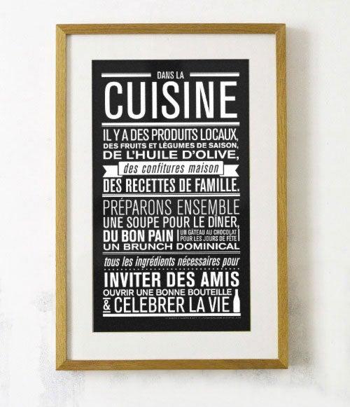 Affiche dans la cuisine la cabane eug ne for Cadre decoratif pour cuisine