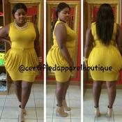 Image of Mustard MARILYN drape dress