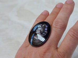 Image of Mother of pearl cameo - huge cocktail ring