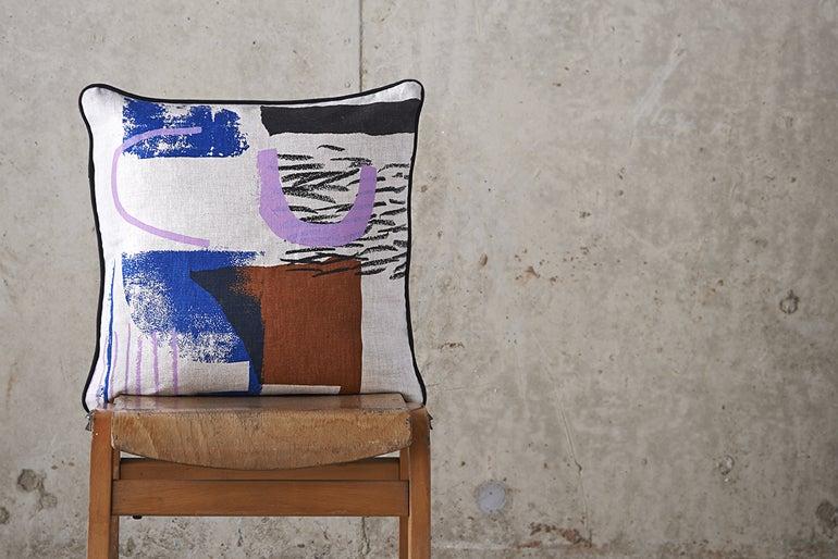 Image of 'Assemble / Configure' Cushion - Terracotta / Pink / Cobalt / Black ~ 45 x 45