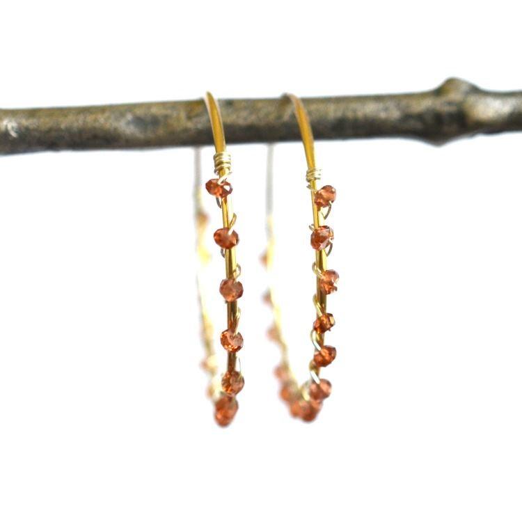 Image of Hessonite hoops mixed metal