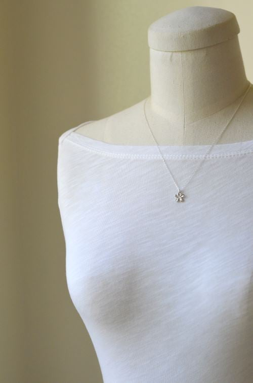 Image of Pua Melia Plumeria Necklace silver