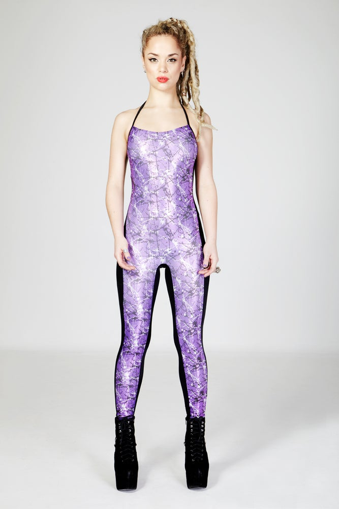 Image of NICO Halter Neck Catsuit in Limited Edition PURPLE SPLASH