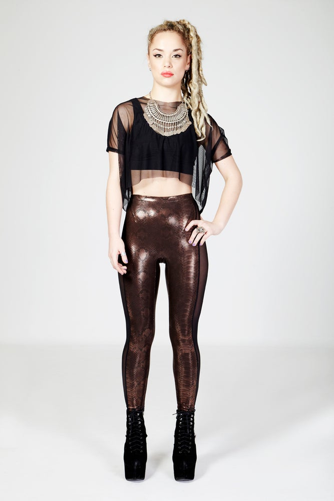 Image of CELINE Leggings in Limited Edition BRONZE/BROWN VIPERA Print