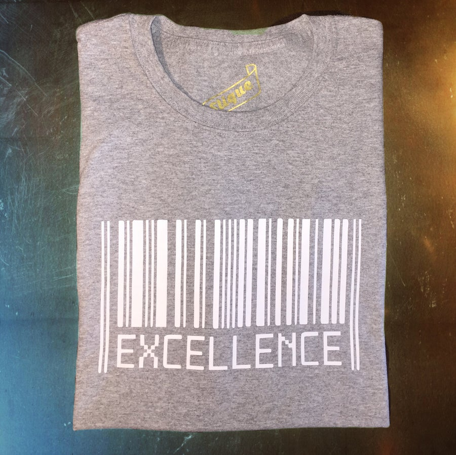 Image of White on Gray Excellence T-Shirt [Male]
