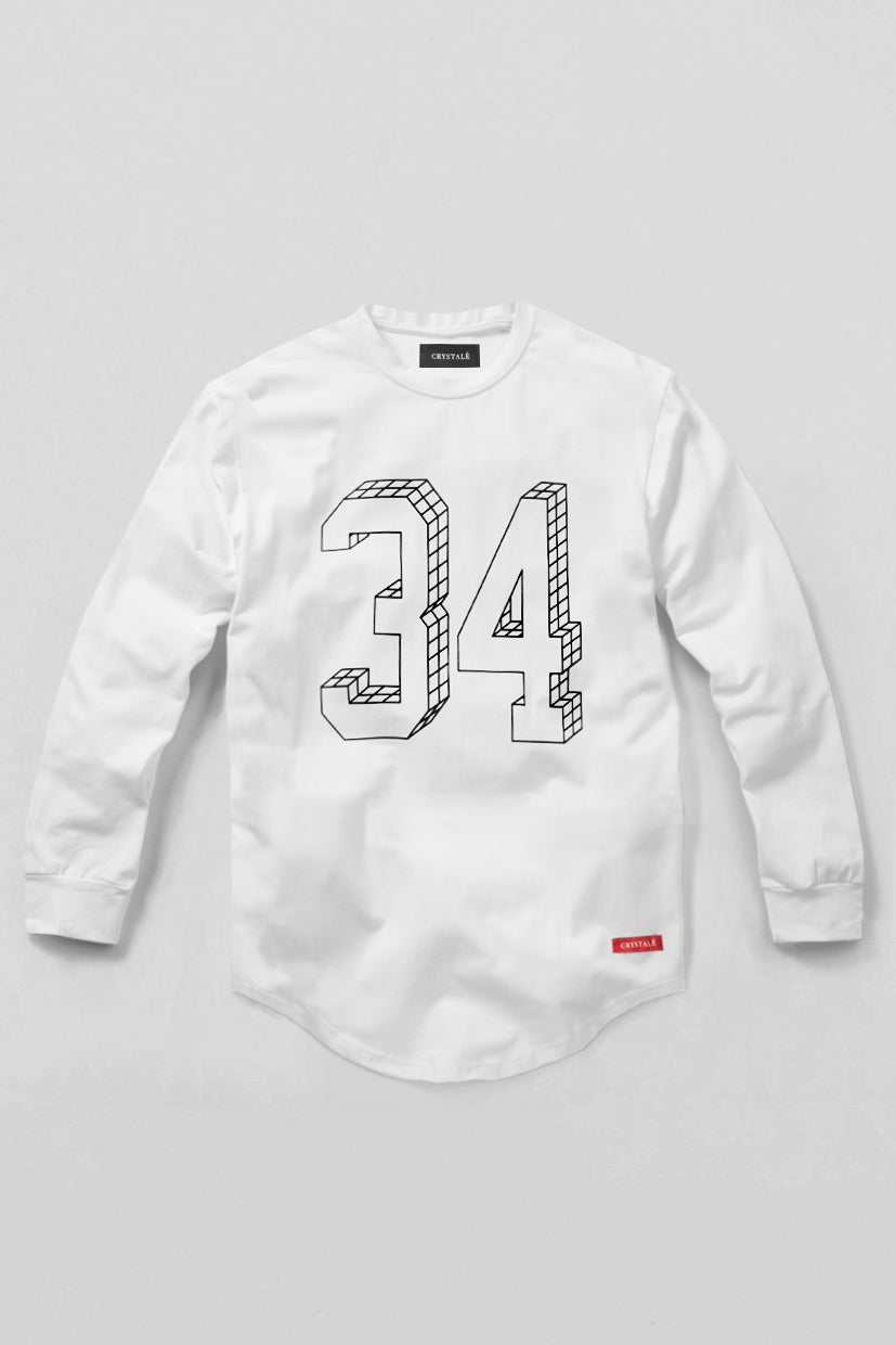 Image of Long Sleeve 3D 34 T-Shirt in White