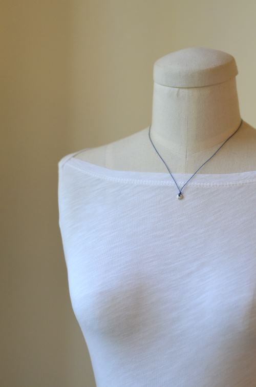 Image of Tiny silver circle cord necklace