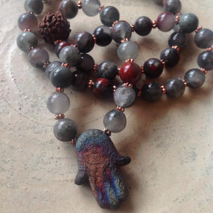 Image of Cleansing and Renewal Bloodstone with Hamza Hand and Sacred Shiva Tear ( Rudraksha) Necklace