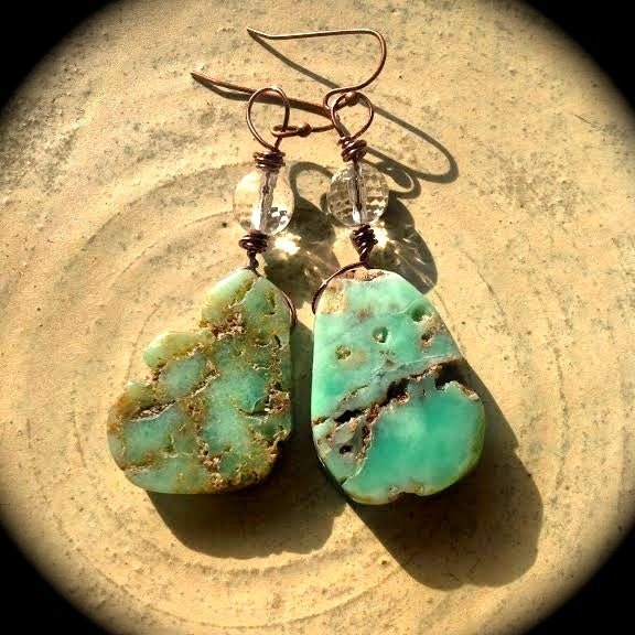 Image of All About the Heart Chakra <3 Chrysoprase and Crystal Quartz Earrings