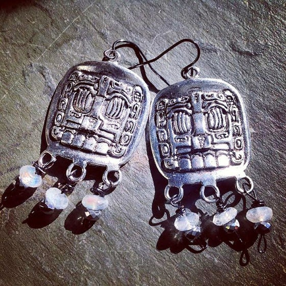 Image of Goddess Mictecacihuatl Tribal Moonstone and Pyrite Earrings