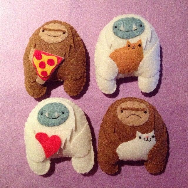 Image of cuddly yeti + sasquatch mini plush