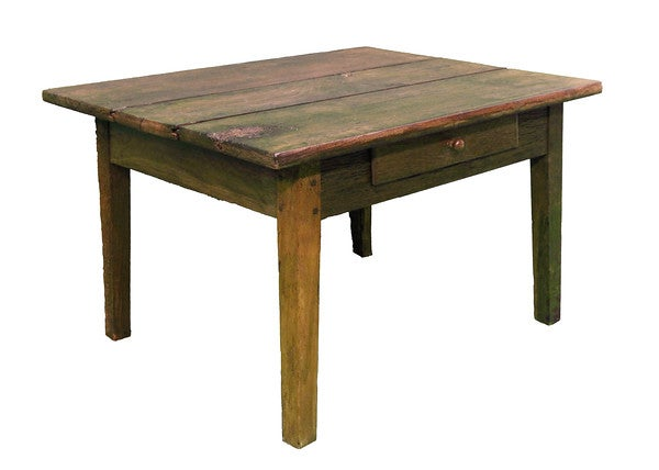 Image of c18th Century Oak Plank top low table with drawer