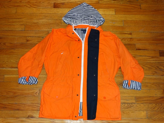 Image of (L/XL) Deadstock 90's Nautica Overcoat w/Stashed hood