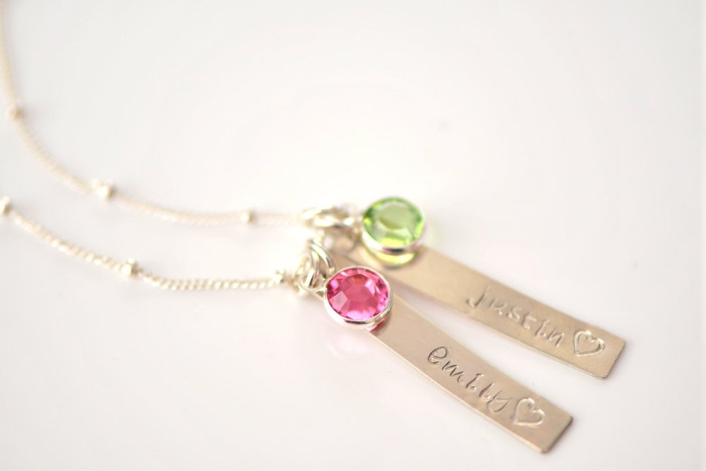 Image of Personalized Bar Necklace with Birthstone Necklace