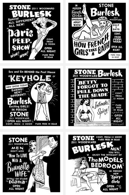 Image of Set of 6 Stone Burlesk prints.
