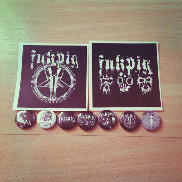 Image of Fukpig - badge and sticker pack