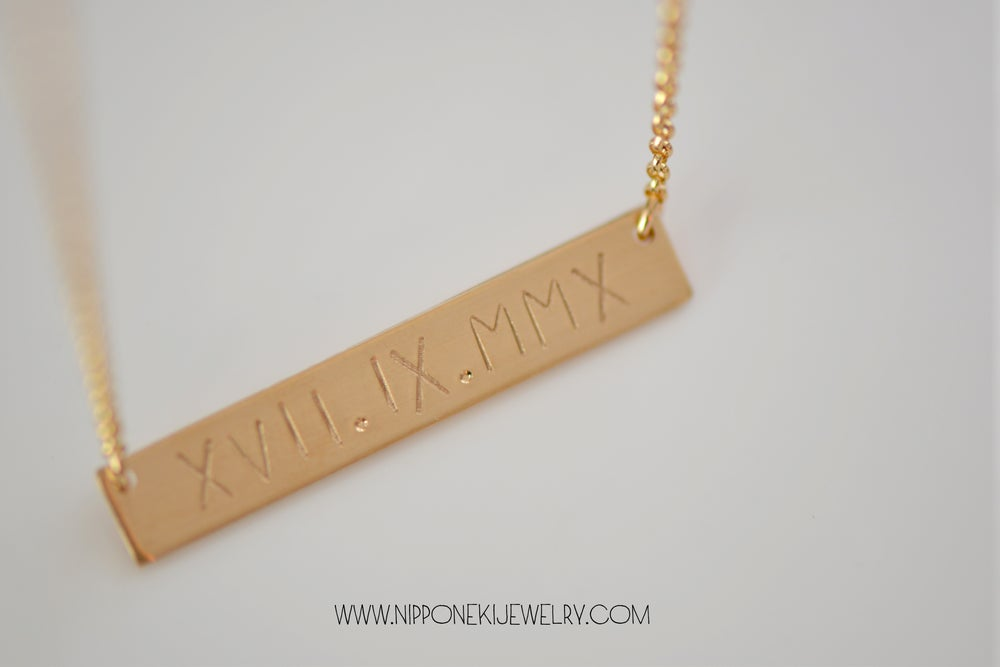 Image of Gold / Sterling Silver Necklace - Heavy Bar Necklace - Nameplate Necklace