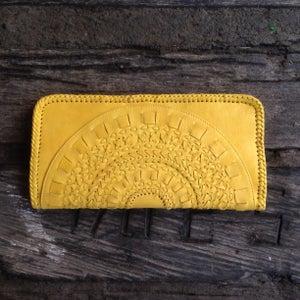 Image of Mandala Leather Clutch (Yellow)