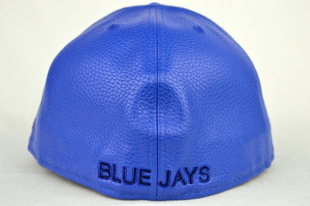 Image of TORONTO BLUE JAYS BLUE & BLACK LEATHER NEW ERA FITTED CAP