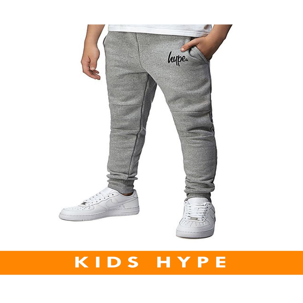 Image of HYPE KIDS. GREY SKINNY FIT JOGGERS