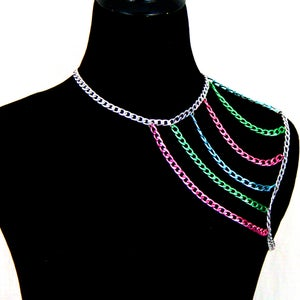 Image of Madison Colored Chain Shoulder Harness Necklace