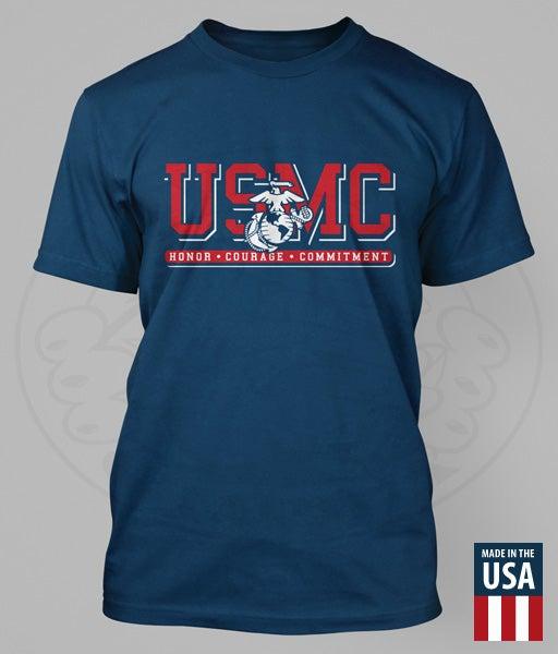 "Image of USMC - EGA ""HONOR. COURAGE. COMMITMENT."" Performance T-Shirt"