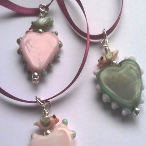 Image of Heart and lovebird pendant