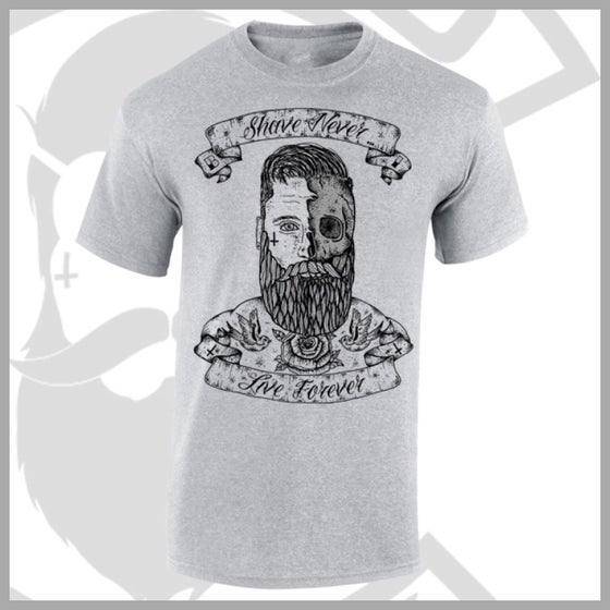 Image of Grey Beard and Ink Shave Never Live Forever Front Logo Tee
