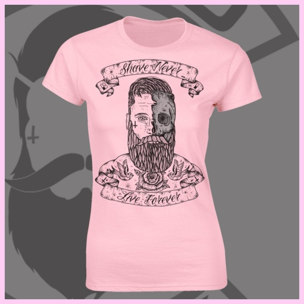 Image of Pink Beard and Ink Shave Never Live Forever Front Logo Tee