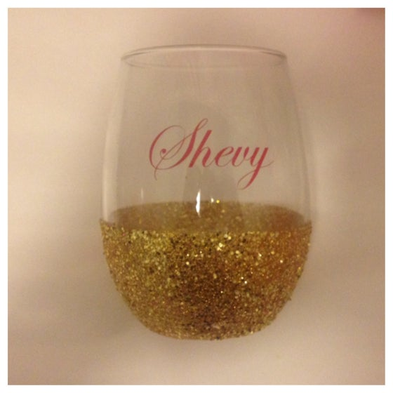 Image of Glitter Stemless Wine Glass