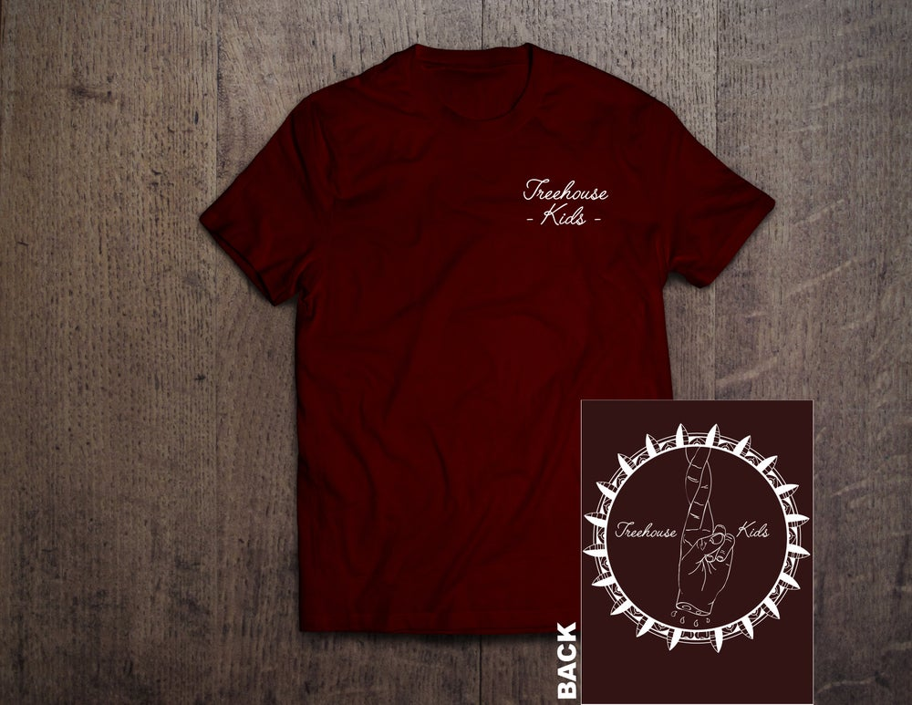 Image of FINGERS CROSSED TEE ON MAROON