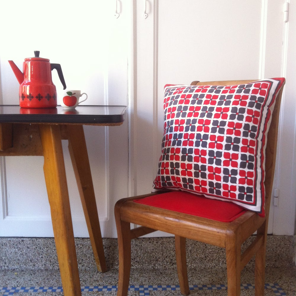 Image of unique cushion made with vintage red & grey scarf