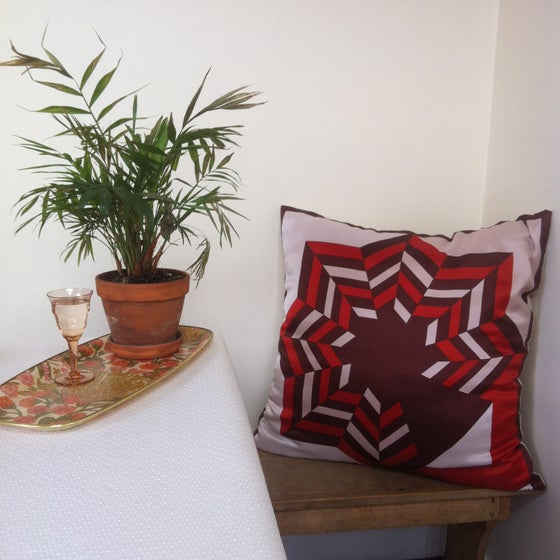 Image of unique oversized cushion made with vintage geometric scarf