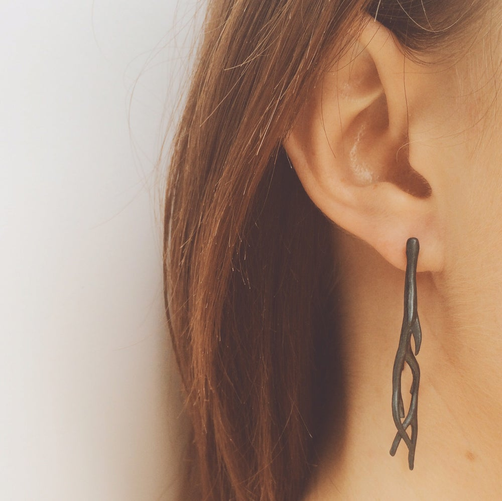 Image of Point Napean drop earrings - oxidised